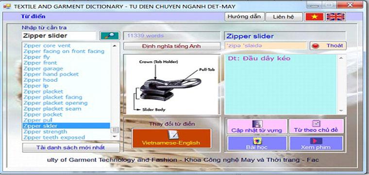 Cập Nhật Chương Trình Từ Điển Chuyên Nghành Dệt May Cho Tất Cả Windows 32bit-64bit 10