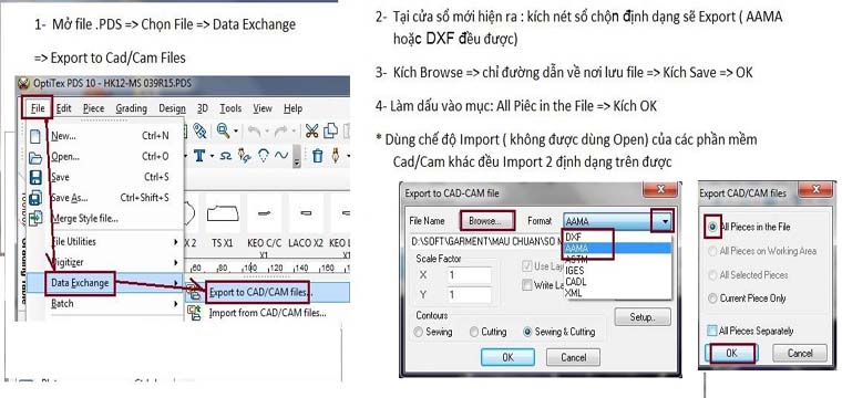 Hướng Dẫn Xuất File Rập Optitex Sang DXF 15