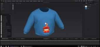Mô Phỏng Thiết Kế Thời Trang 3D Áo Thun Dài Tay Cổ Tròn Trẻ Em