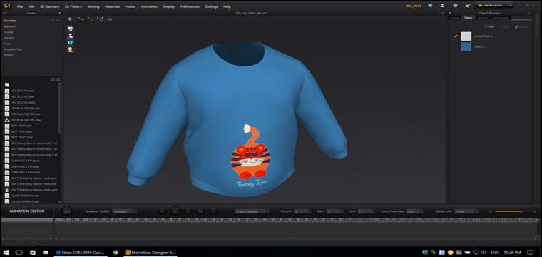 Mô Phỏng Thiết Kế Thời Trang 3D Áo Thun Dài Tay Cổ Tròn Trẻ Em 11