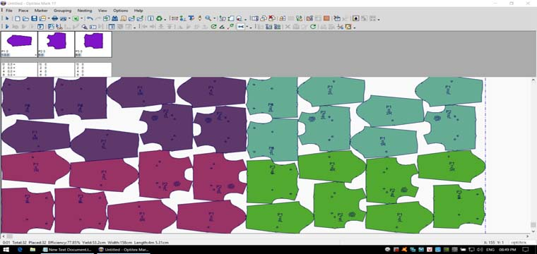 Giác Tự Động Cụm Loang Màu Vải Trên Optitex Marker 17 Nest Pro Multicore 8