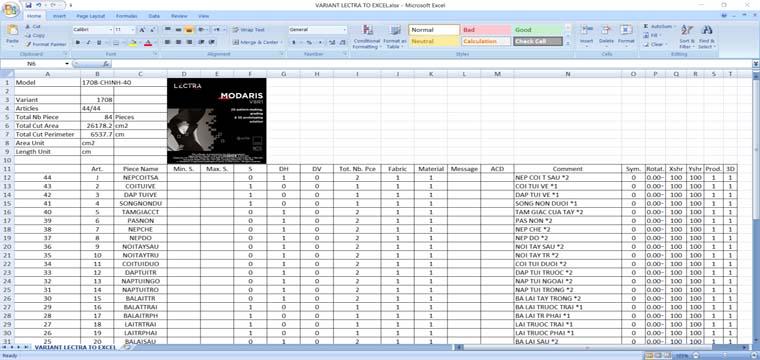 Hướng Dẫn Export Variant Lectra Modaris To Excel 2