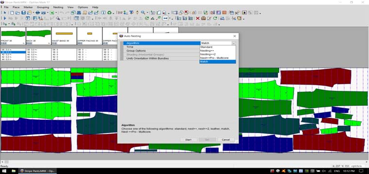 Giác Sơ Đồ Tự Động Bắt Điểm Canh Sọc Optitex 17 Marker AutoNesting-Match 21